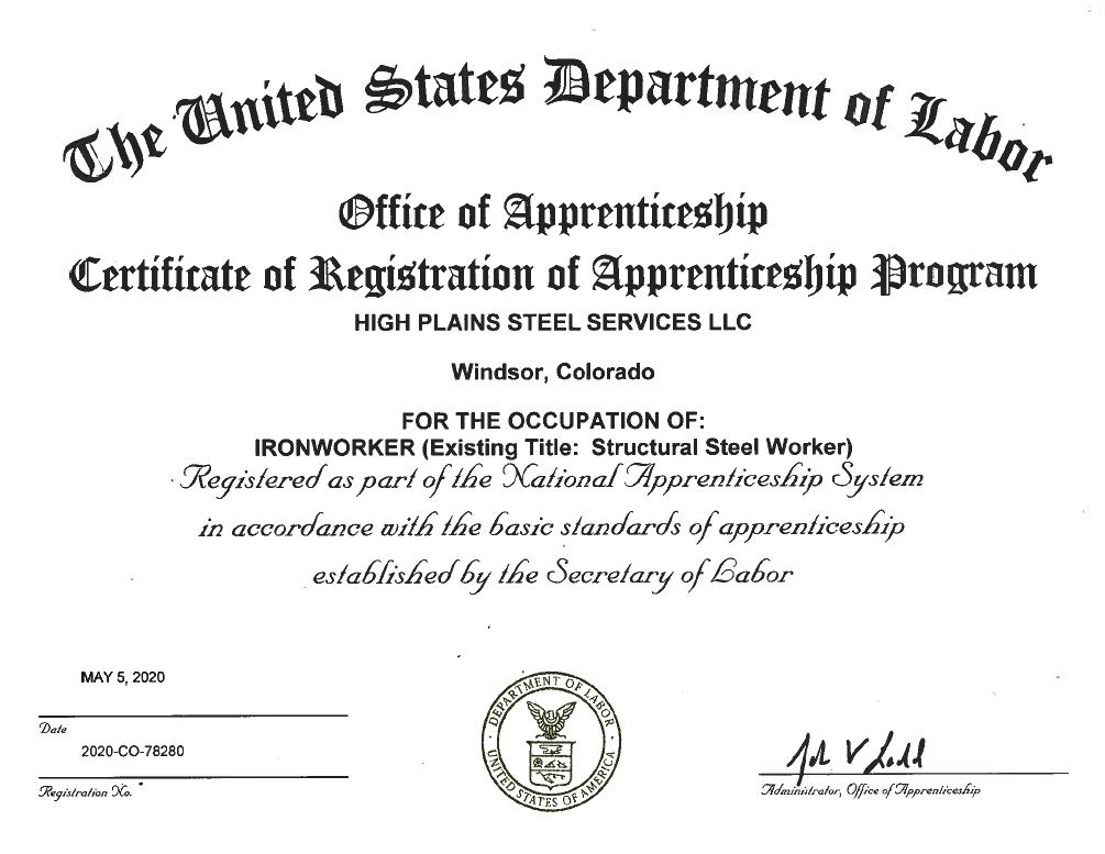 Department of Labor Certificate