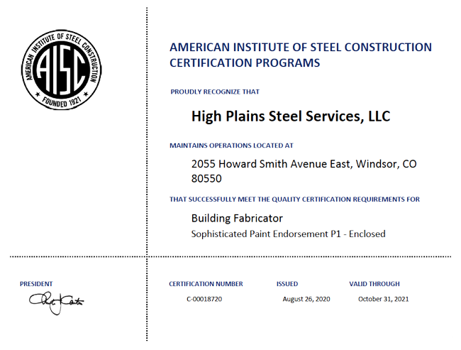 AISC Certification: Fabrication & Coatings