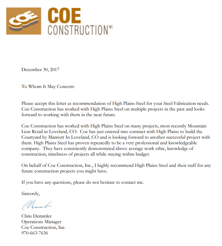 COE Construction Letter of Recommendation
