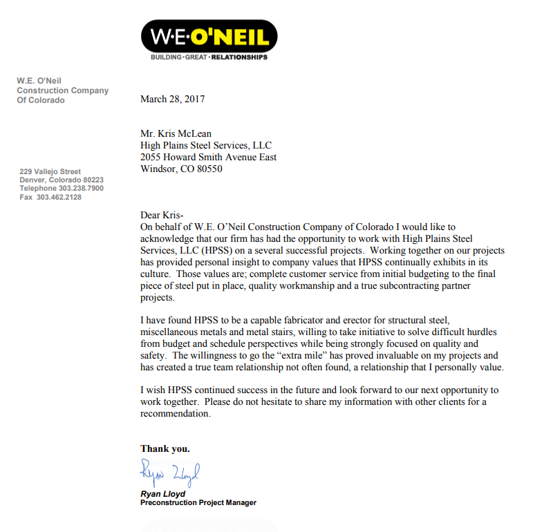 W.E. O'Neil Letter of Recommendation